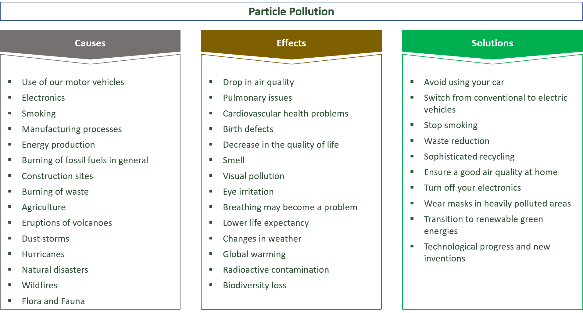 causes, effects and solutions for particulate pollution